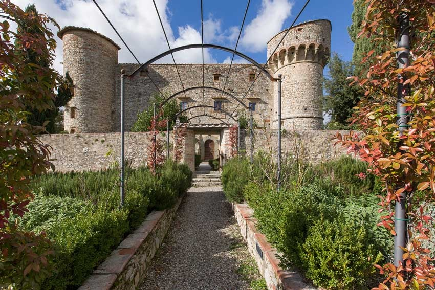 Gardens of Castello di Meleto for Tuscany weddings in Chianti