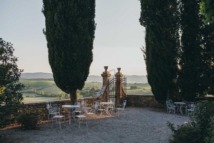 Gardens of Castello di Modanella in Siena Tuscany