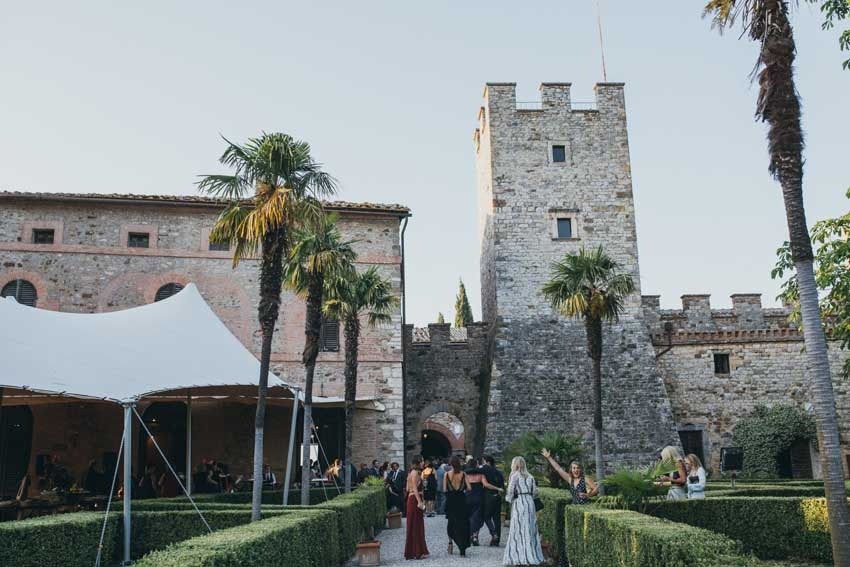 Outdoor wedding reception at Castello di Modanella in Siena Tuscany