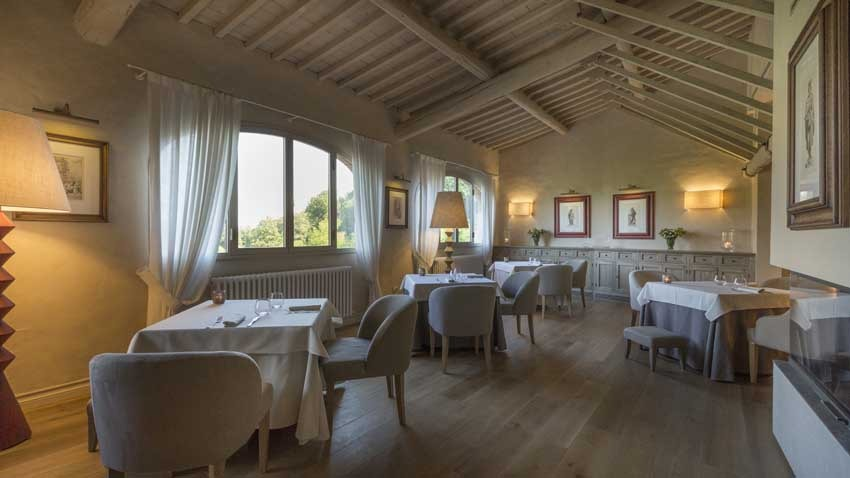 Restaurant of Il Borro Relais for weddings in Tuscany