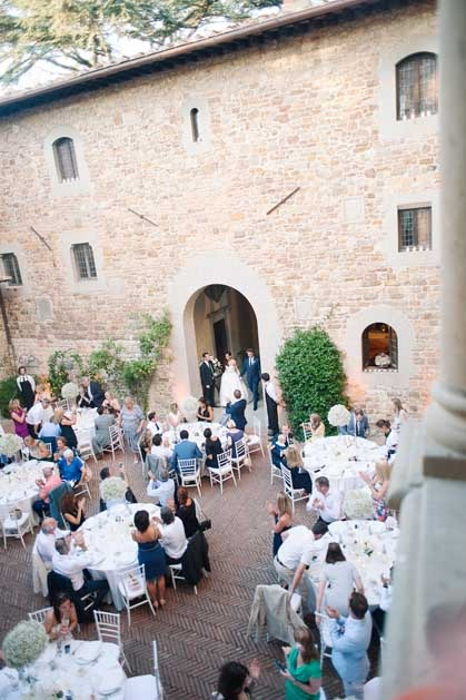 Wedding reception at Outdoor wedding reception at Castello Il Palagio in Tuscany