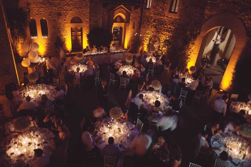 Wedding dinner at Outdoor wedding reception at Castello Il Palagio in Tuscany