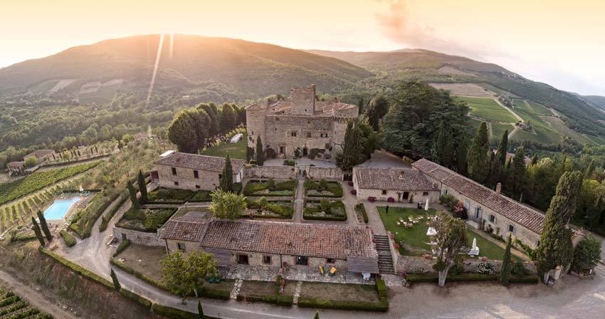 Aerial view of Castello di Meleto in Tuscany