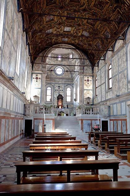 Interior of Church of Santa Maria dei Miracoli for catholic weddings in Venice