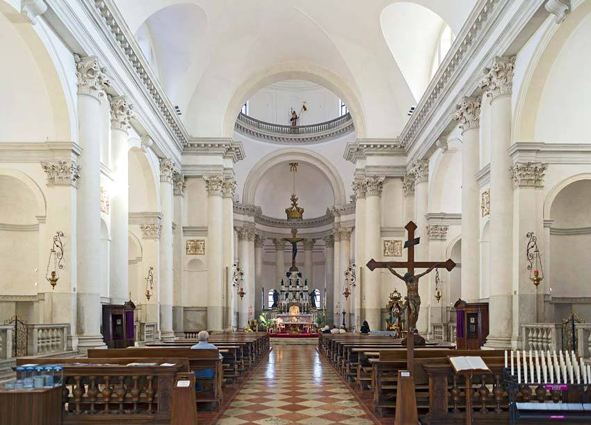 Interior of the Redentore church for catholic weddings in Venice