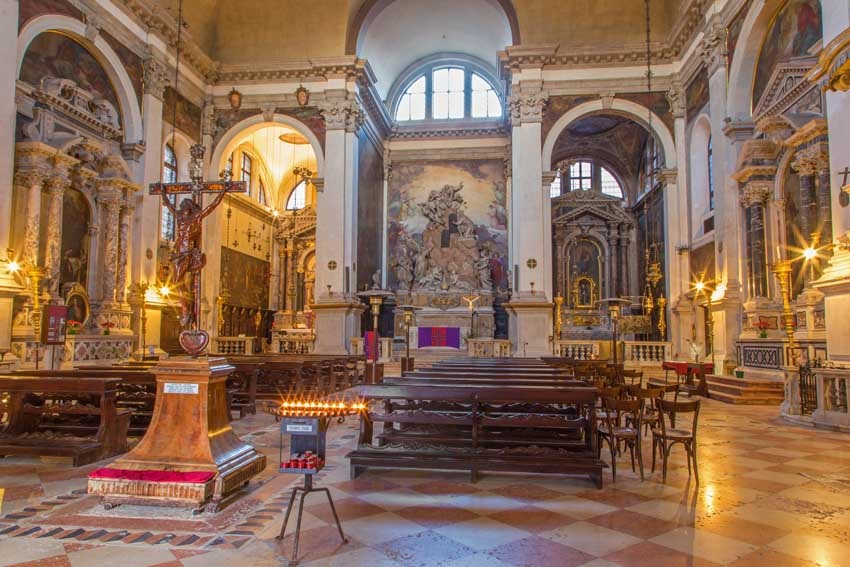 Interior of the church of San Moise for catholic weddings in Venice