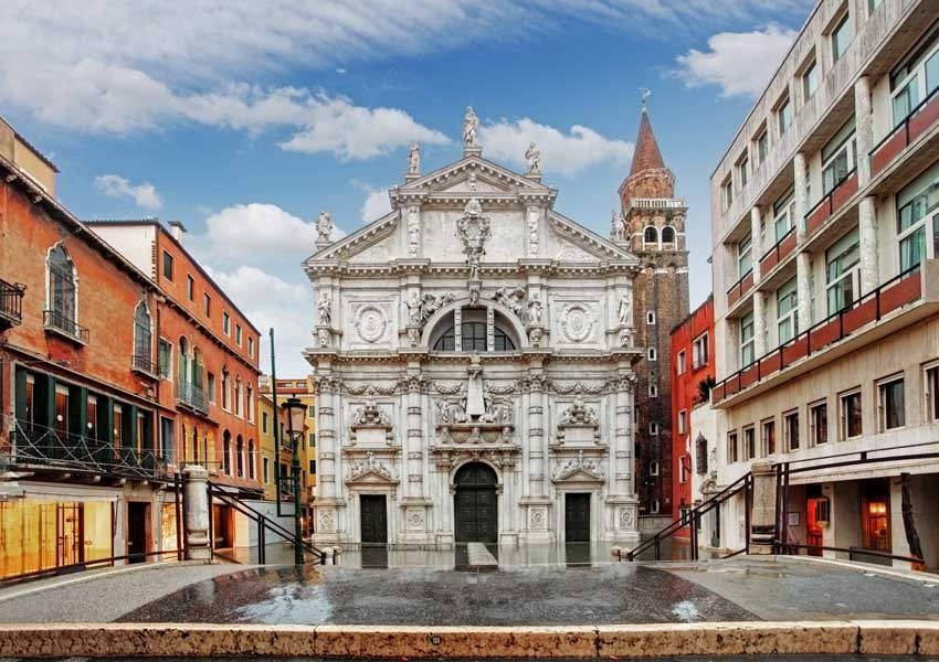 Facade of the church of San Moise for catholic weddings in Venice