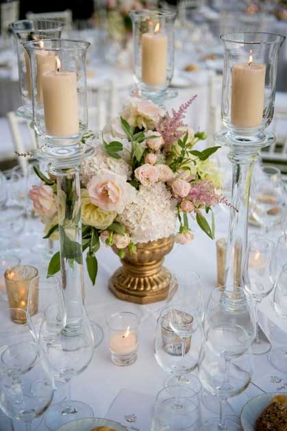 Flower decoration for Outdoor wedding reception near Florence at Villa di Maiano