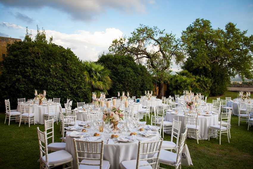 Outdoor Wedding reception at Villa di Maiano Florence