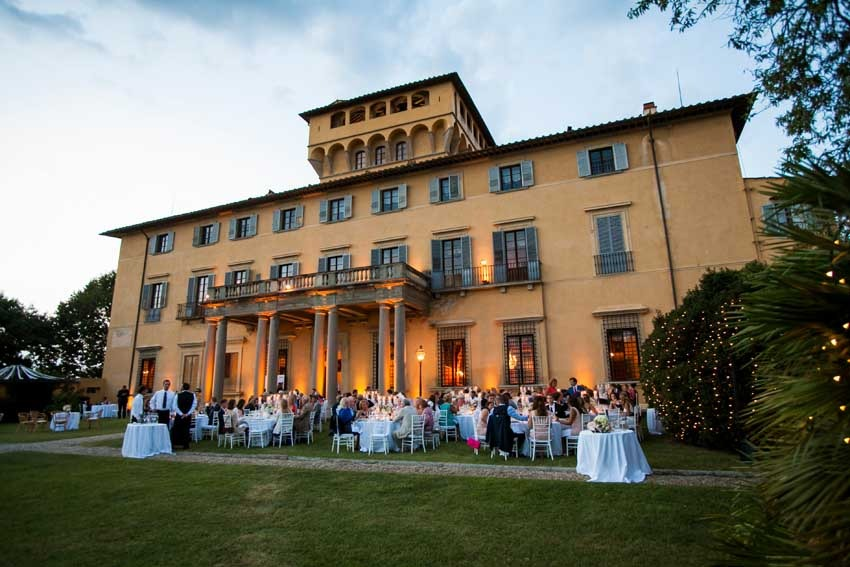 Outdoor wedding reception near Florence at Villa di Maiano