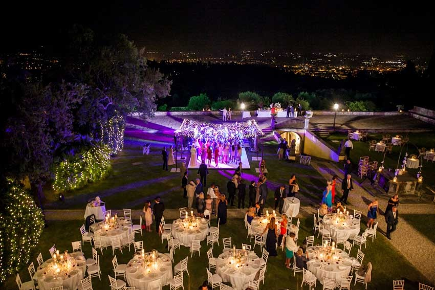 Flower decoration for Outdoor wedding party near Florence at Villa di Maiano