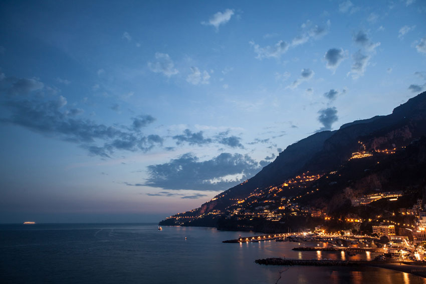 The town of Amalfi at evening