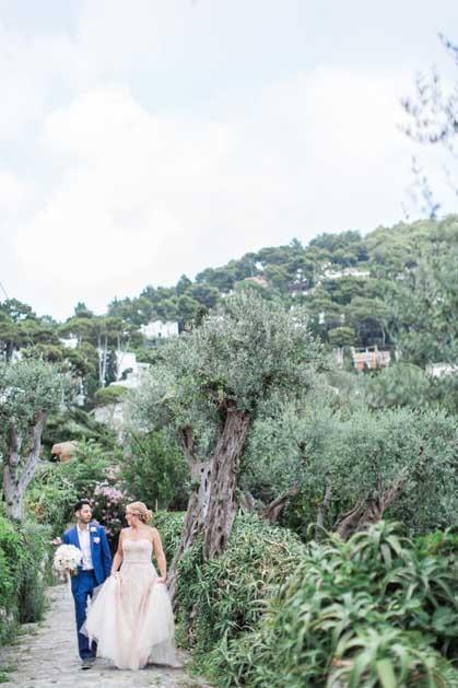 Bride and groom at Capri wedding