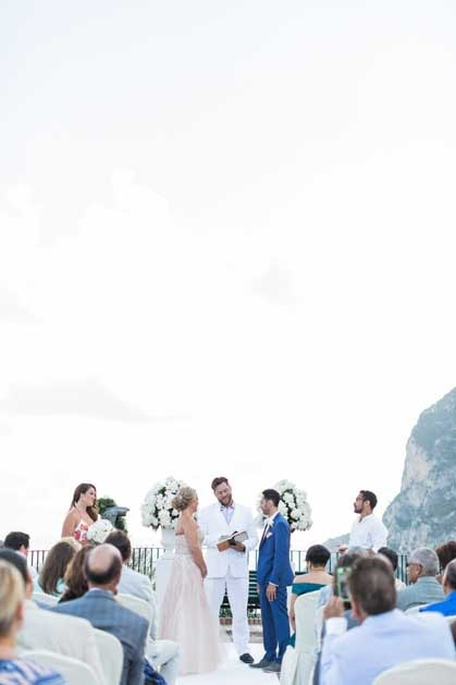 Symbolic wedding ceremony on a terrace in Capri