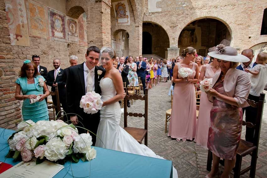 Outdoor civil ceremony in San Gimignano, Tuscany