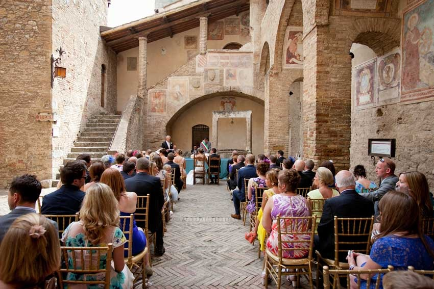 Civil ceremony in historical Town Hall in San Gimignano Tuscany