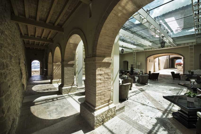 Hall of Castello di Velona in Tuscany