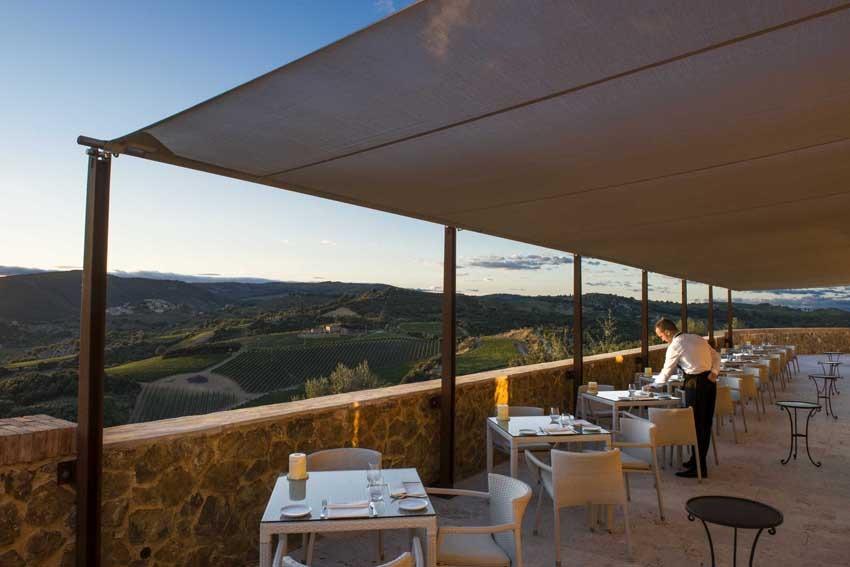 Terrace of Castello di Velona, wedding venue in Tuscany