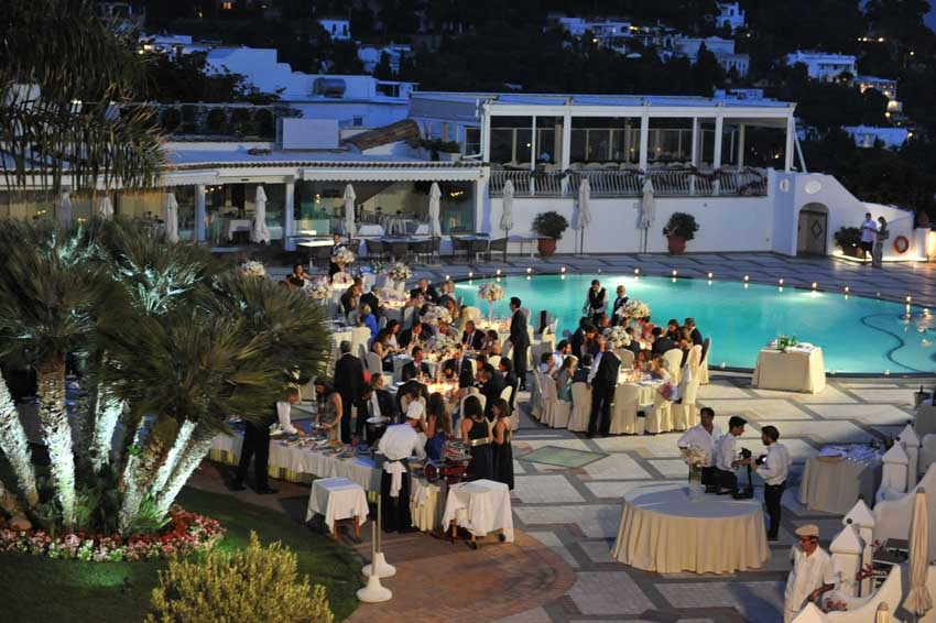 Wedding reception by the pool at Quisisana Hotel Capri