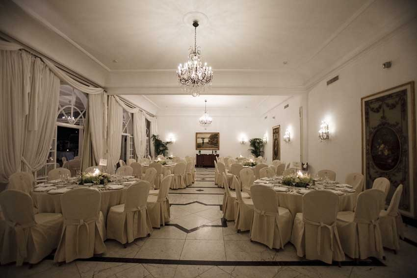 Wedding reception in Capri Hall at Quisisana Hotel Capri