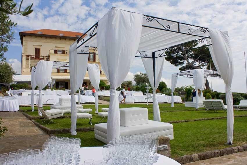 Outdoor wedding reception at Villa Angelina Sorrento