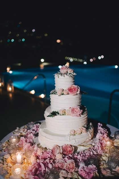 Wedding cake for reception on the Amalfi Coast