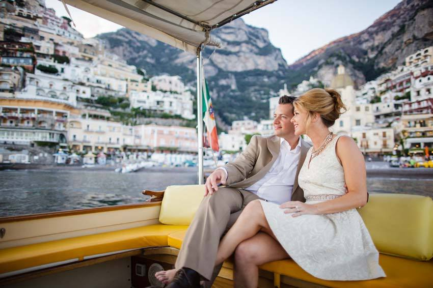 Bridal couple on a boat