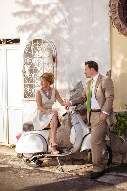 Bridal couple on vintage scooter