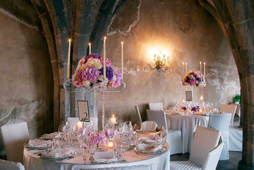 Flower decoration for wedding reception in Italy