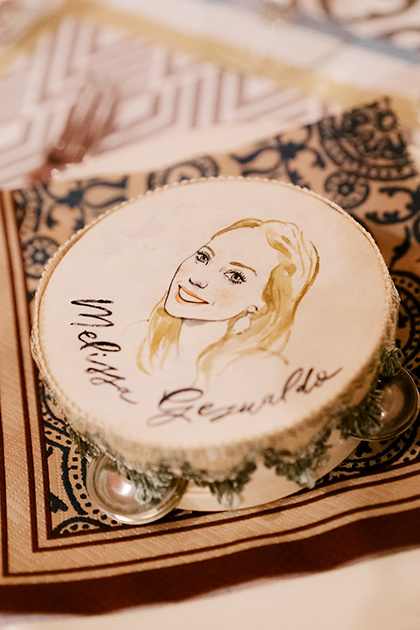 Portrait of the bride on a tambourine