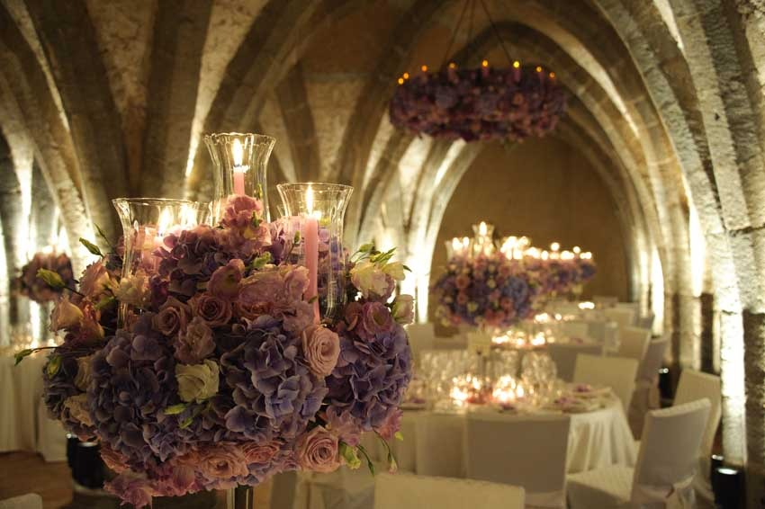 Decor for wedding reception in Ravello