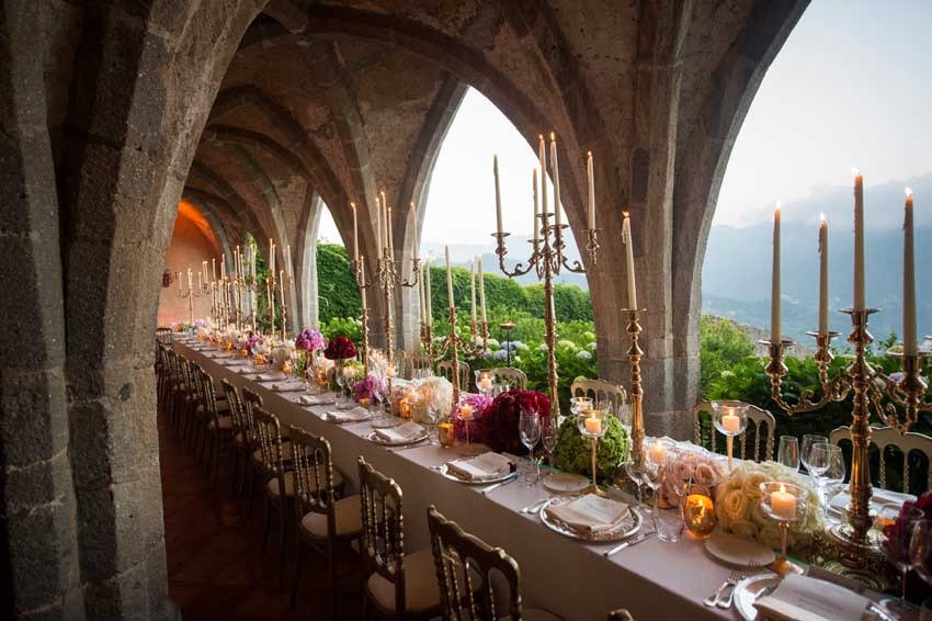 Decor for wedding reception on the Amalfi Coast