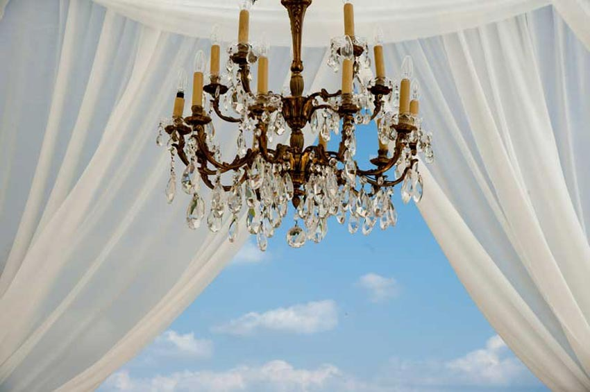 Elegant chandelier for outdoor wedding reception