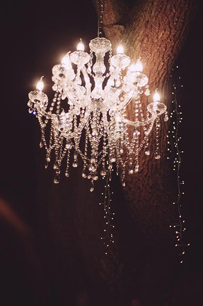 Glass chandelier for outdoor wedding party