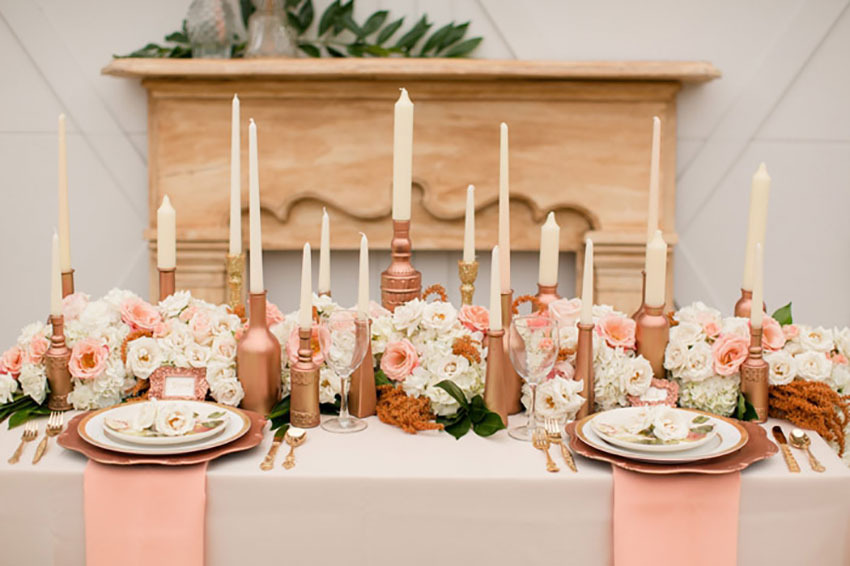 Wedding reception with rose gold accessories