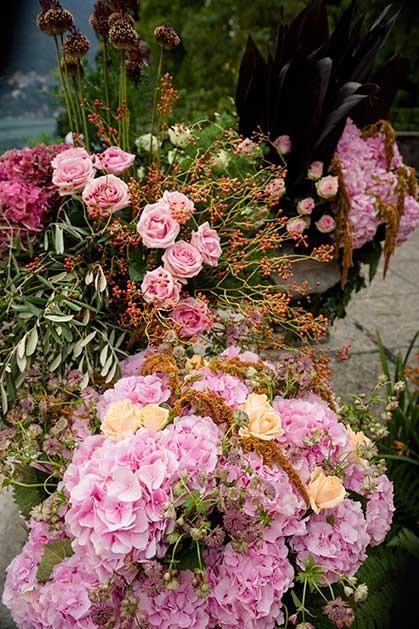 Organic florals for Lake Como wedding