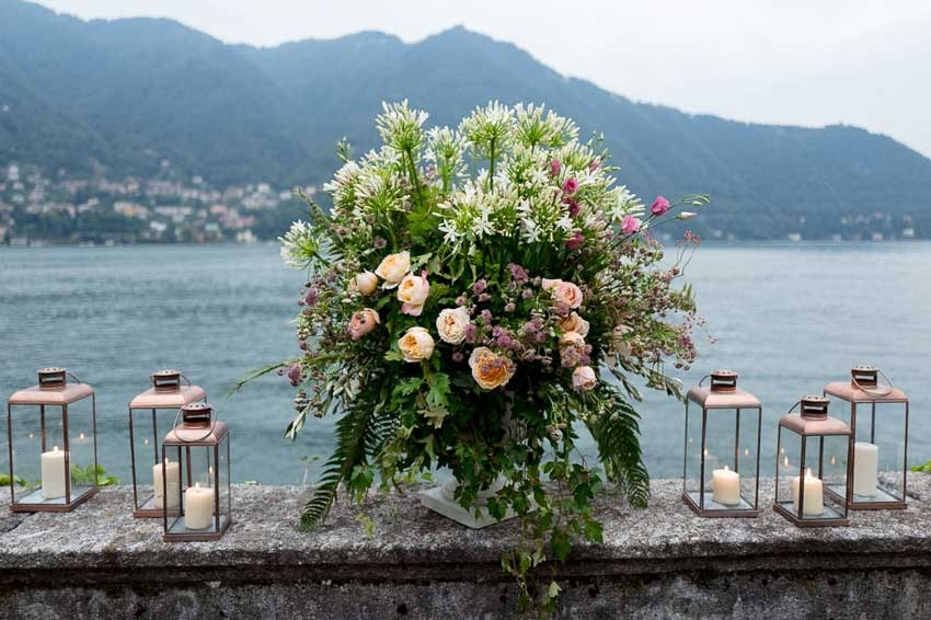 Organic florals for Lake Como wedding