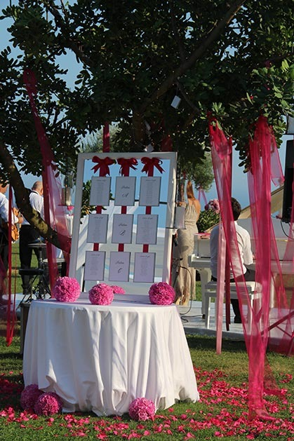 Pink party wedding reception