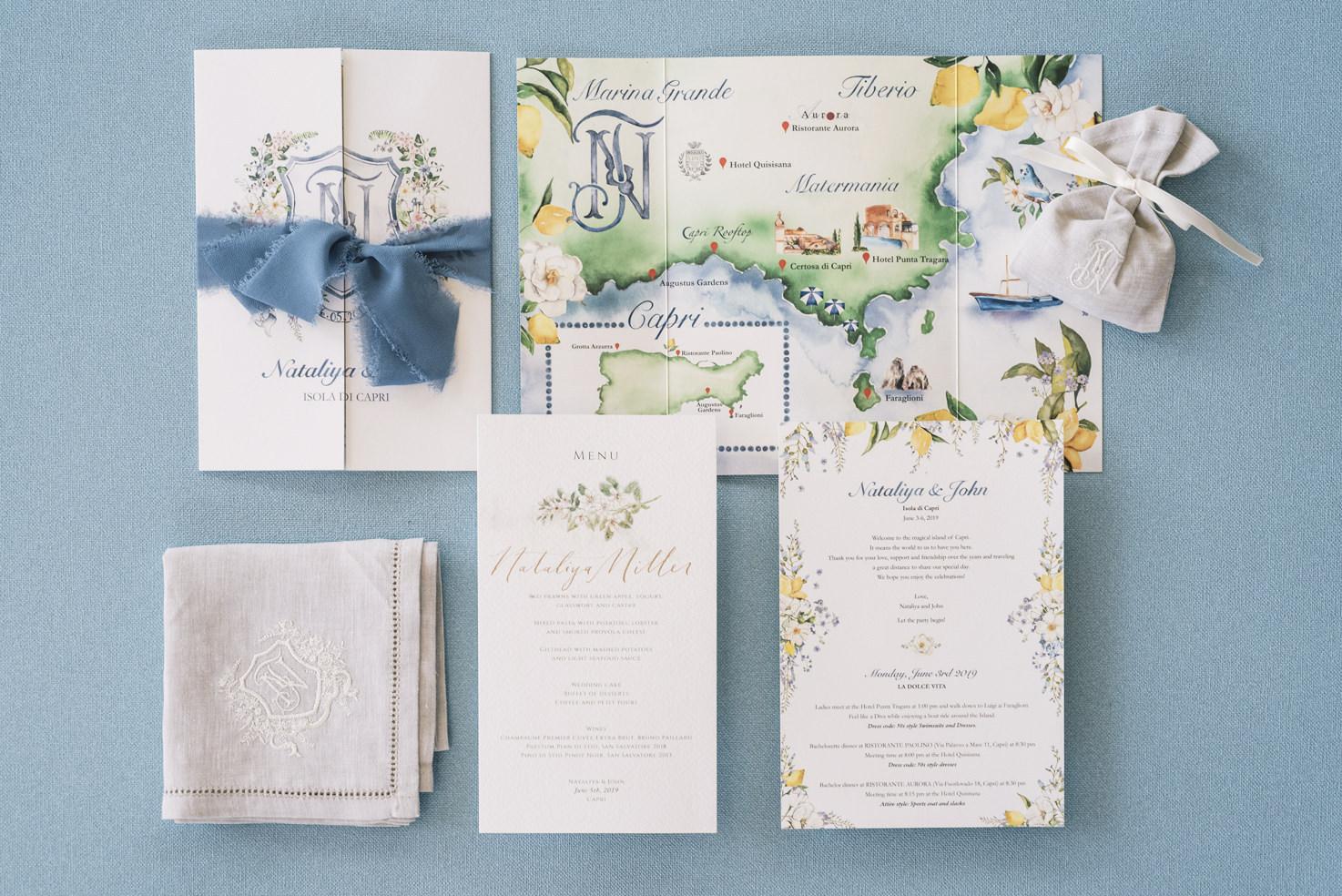 Wedding stationery for Italian wedding