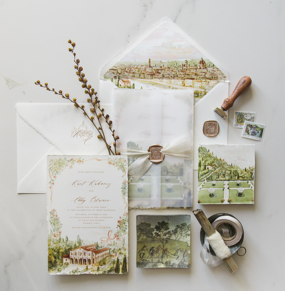 Watercolor stationery for Italian wedding