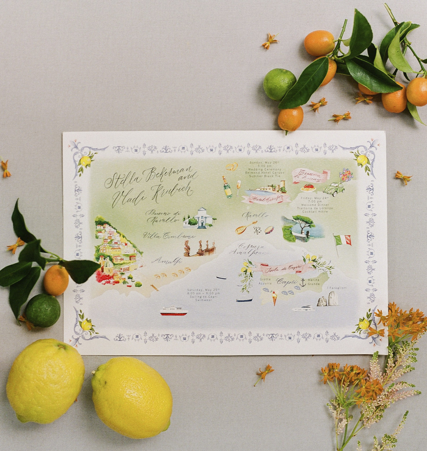 Wedding stationery in bright colors