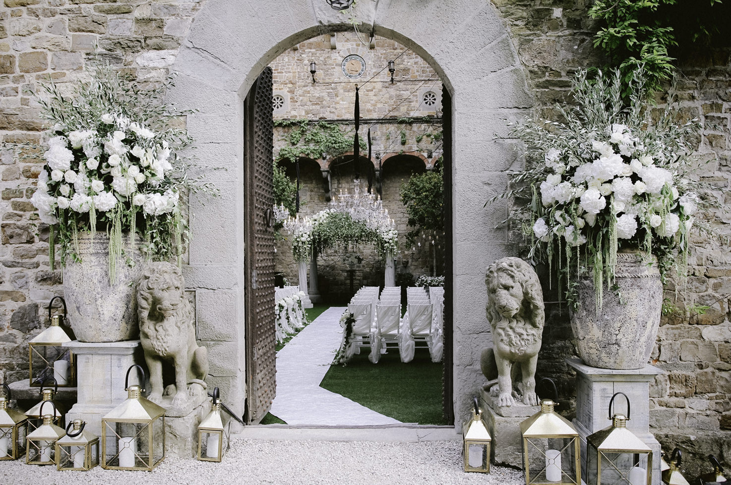 Flower decoration for castle wedding