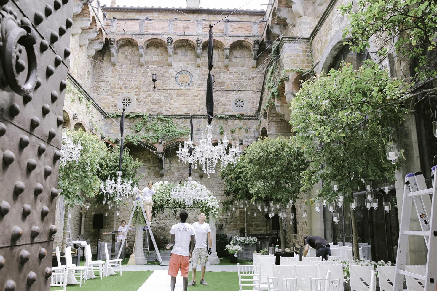 Flower set up for wedding ceremony