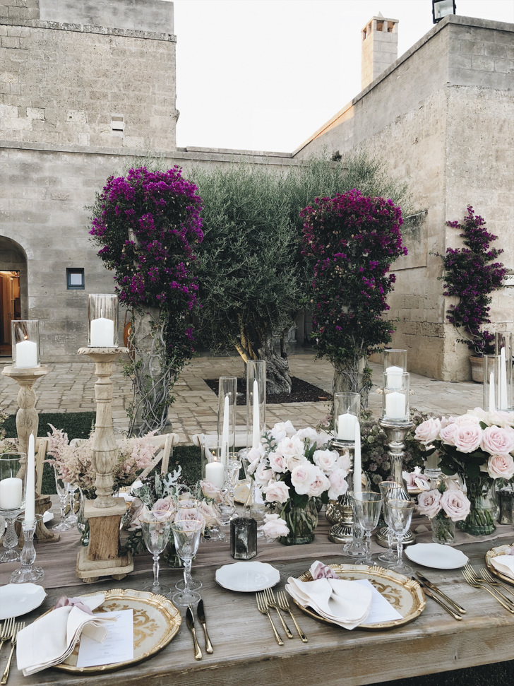 Table setting in boho chic style