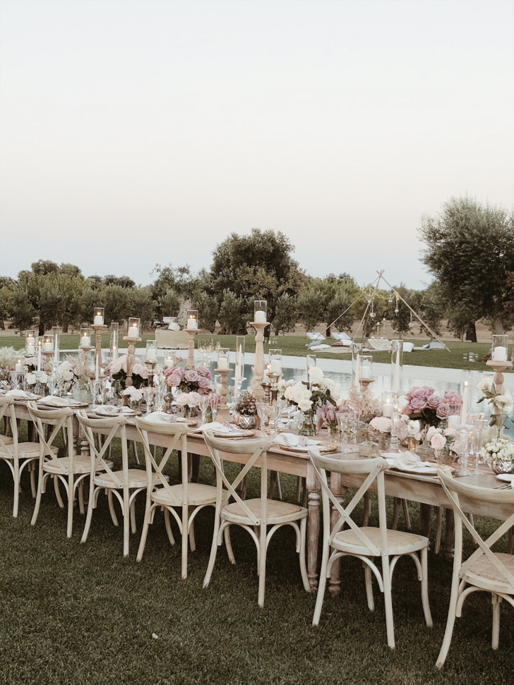 Long table for outdoor wedding reception