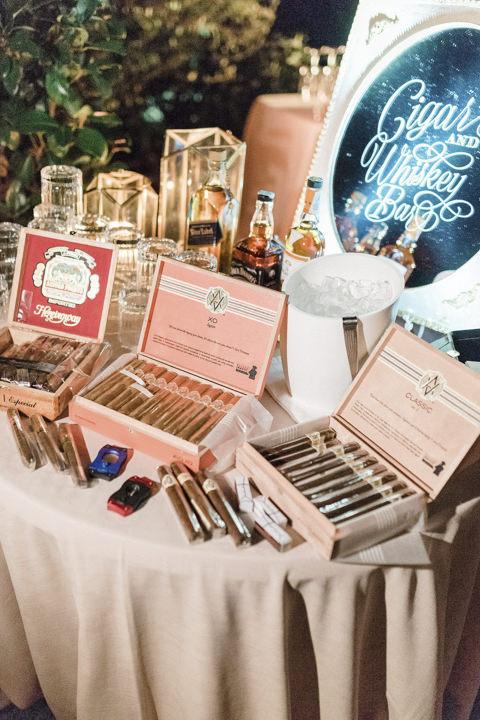 Cigar bar for Italian wedding reception