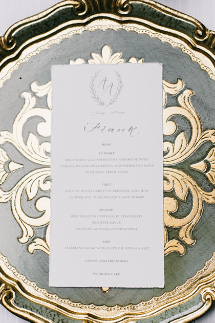 Table setting for wedding in Florence