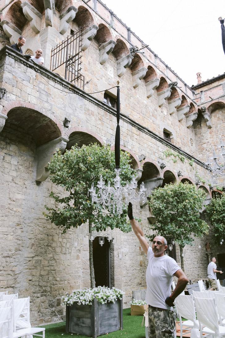 Crystal chandelier for castle wedding in Florence