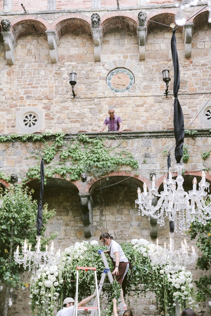 Set up for wedding banquet in a Florence castle