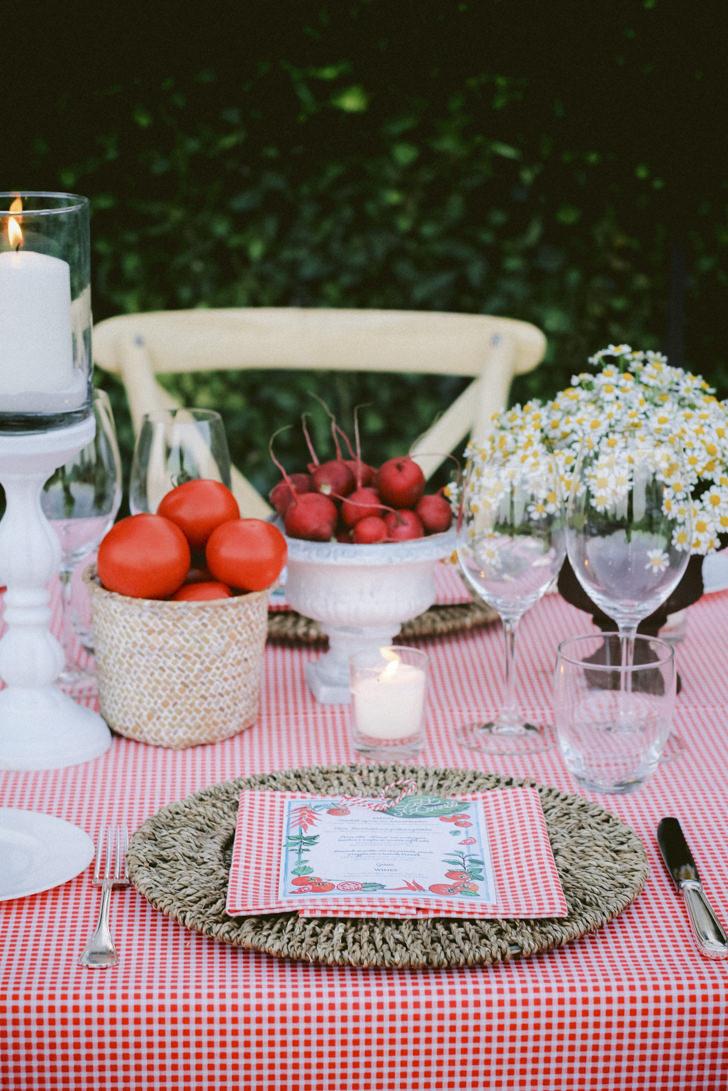 Table setting for Italian welcome dinner